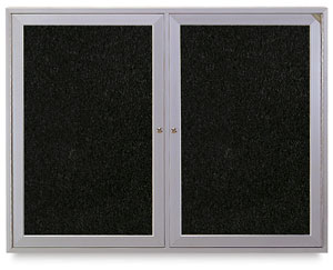Satin Aluminum Frame Tackboard, 2 Door