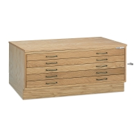Mayline 5-Drawer Oak Flat Files