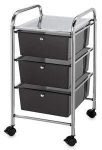Mobile Storage Cart, 3-Drawer Smoke