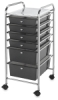 Mobile Storage Cart, 6-Drawer Smoke
