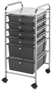 Mobile Storage Cart, 6-Drawer<br>Smoke