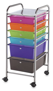 Mobile Storage Cart, 6-Drawer<br>Multi