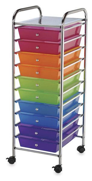 Mobile Storage Cart, 10-Drawer<br>Multi