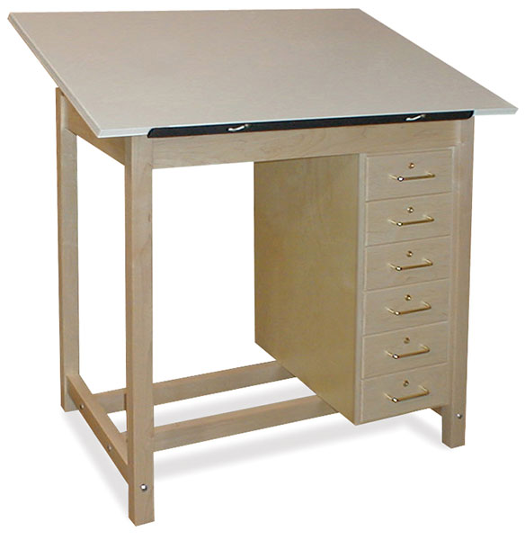 Six-Drawer Wood Drawing Table