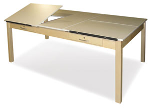 Four-Station Maple Drawing Table with Drawers