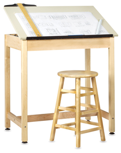 Drawing Table w/out Drawer, 1 Piece Top (stool and accessories not included)