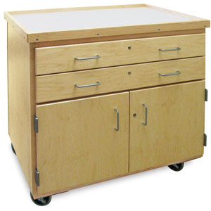 Mobile Arts Storage Cart with Doors