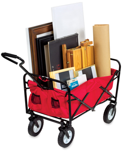 Folding Supply Cart, Red (Art Materials Not Included)