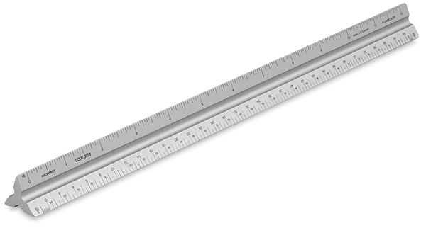 """Solid Triangular Drafting Scale, Architect 12"""""""
