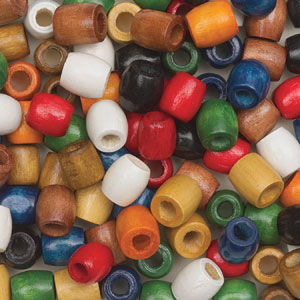 Wooden Barrel Beads, Pkg of 100