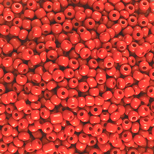 Opaque Glass E Beads, Red