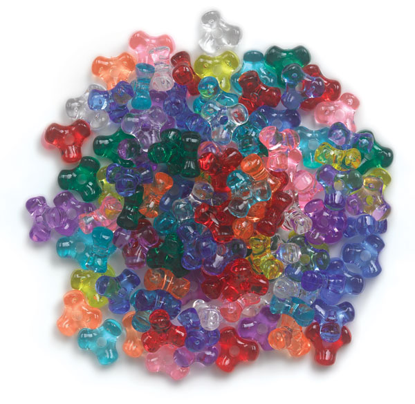 Transparent Assorted Plastic Tri-Beads, Pkg of 1000