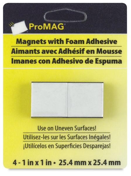 Adhesive Magnetic Squares, Pkg of 4, 1""