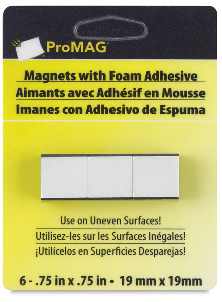 Adhesive Magnetic Squares, Pkg of 6, ¾""