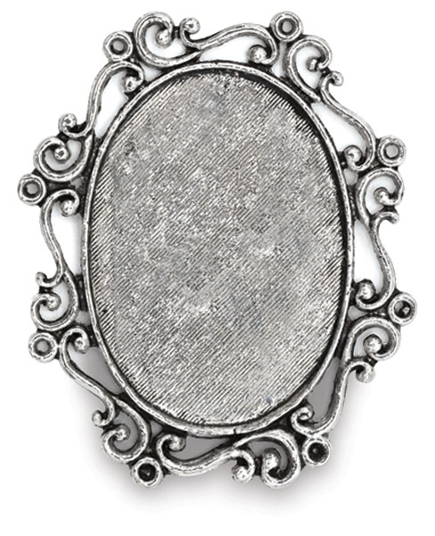Antique Silver Oval Swirl, Front