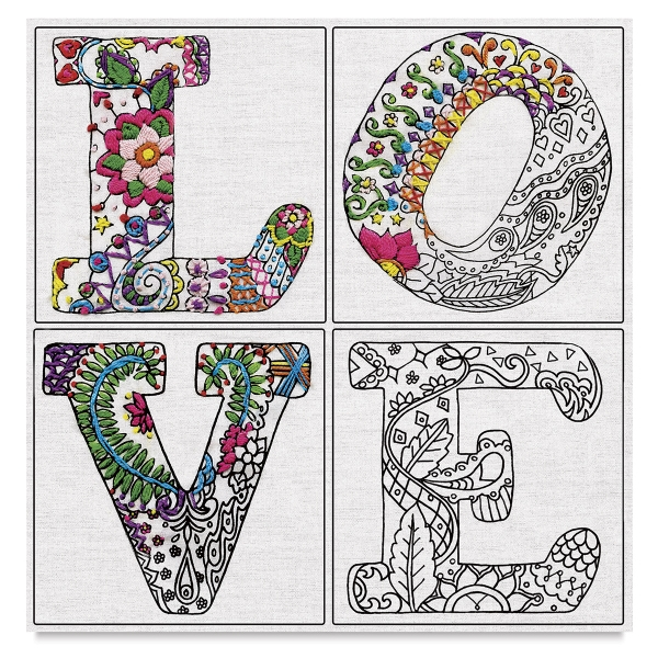 Zenbroidery Stamped Embroidery Kit, Love </br>(Embellishment Materials Sold Separately)