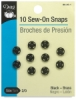 Sew-On Snaps, Pkg of 10, Black