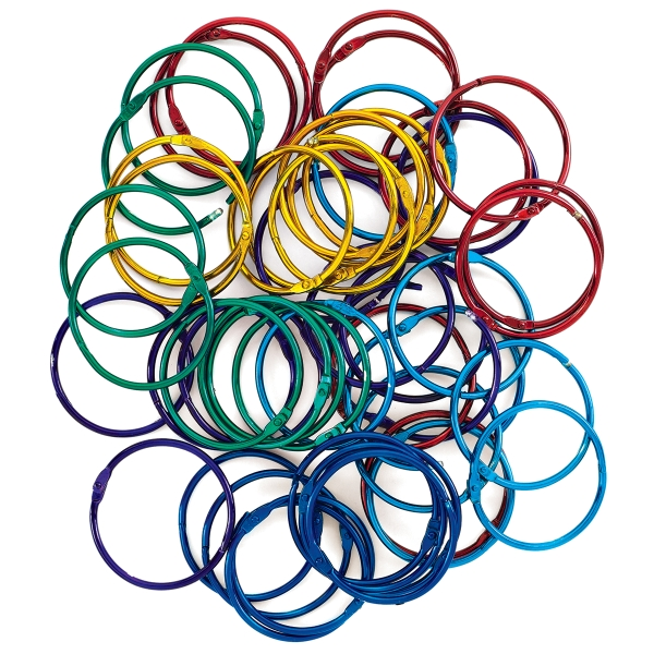 Colored Book Rings, Pkg of 50