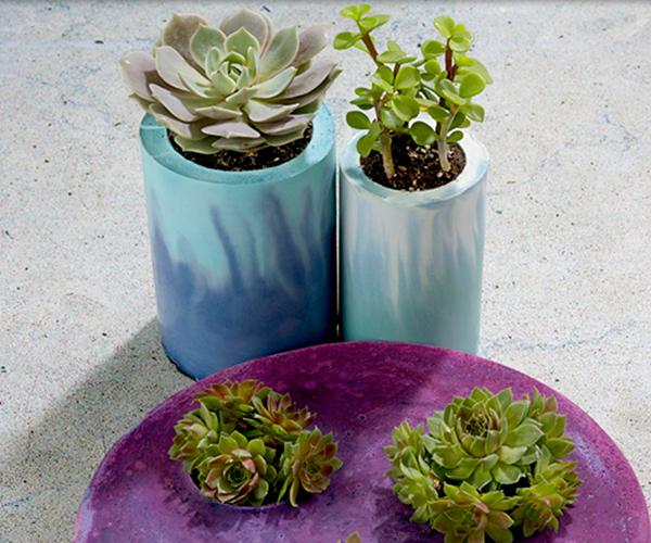 Dyed Concrete Planters