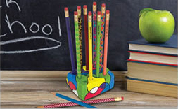 Decorated Pencils & Holder