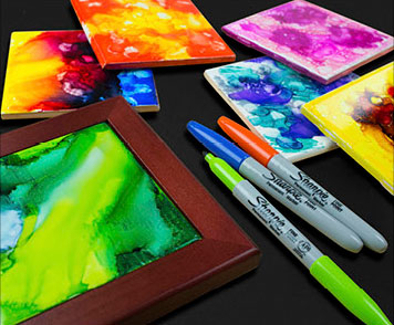 Marker Painted Coasters - Project Ideas - BLICK art materials