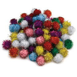 Rainbow and Glitter Poms