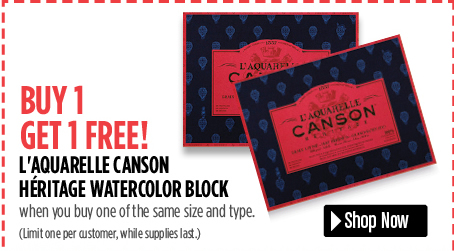 free Laquarelle Canson Heritage Watercolor Block when you buy one of the same size.