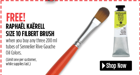 free filbert brusht when you buy three sennelier rive gauche oil colors