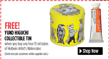 free yuko higuchi collectible tin when you buy 4 15 ml tubes of holbein watercolor paint