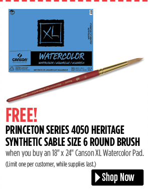 FREE! Princeton Series 4050 Heritage Synthetic Sable Size 6 Round when you buy a 18 x 24 Canson XL Watercolor Pad. Limit one per customer, while supplies last.