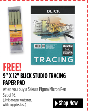 FREE! 9 x 12 Blick Studio Tracing Paper Pad when you buy a Sakura Pigma Micron Pen Set of 16. Limit one per customer, while supplies last.