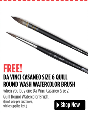 FREE! Da Vinci Casaneo Size 6 Round Wash Brush when you buy one Da Vinci Casaneo Size 2 Quill Round Brush. Limit one per customer, while supplies last.