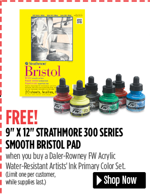 FREE! 9 x 12 Strathmore 300 Series Smooth Bristol Pad when you buy a Daler-Rowney FW Acrylic Water-Resistant Artist Ink Primary Color Set. Limit one per customer, while supplies last.