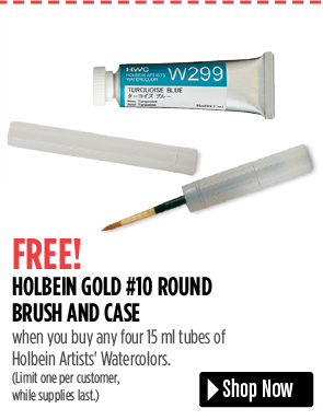 FREE! Holbein Gold #10 Round Brush and Case, when you buy any four 15 ml tubes of Holbein Artists' Watercolors. Limit one per customer, while supplies last.
