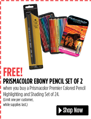 FREE! Prismacolor Ebony Pencil Set of 2 when you buy a Prismacolor Premier Colored Pencil Highlighting and Shading Set of 24. Limit one per customer, while supplies last.