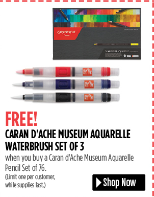 FREE! Caran dAche Museum Aquarelle Waterbrush Set of 3 when you buy a Caran d'Ache Museum Aquarelle Pencil Set of 76. Limit one per customer, while supplies last.