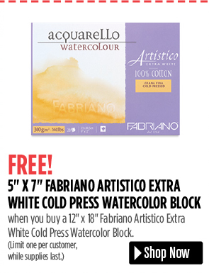 FREE! 5 x 7 Fabriano Artistico Extra White Watercolor Block when you buy a 12 x 18 Fabriano Artistico Extra White Watercolor Block. Limit one per customer, while supplies last.