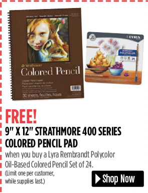 FREE! 9 x 12 Strathmore 400 Series Colored Pencil Pad when you buy a Lyra Rembrandt Polycolor Oil-Based Colored Pencil Set of 24. Limit one per customer, while supplies last.