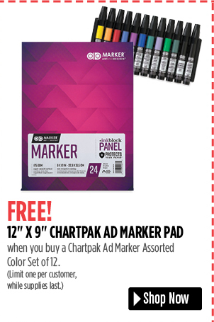 FREE! 12 x 9 Chartpak Ad Marker Pad when you buy a Chartpak Ad Marker Assorted Color Set of 12. Limit one per customer, while supplies last.
