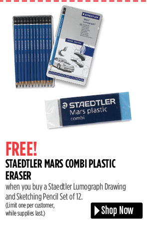 FREE! Staedtler Mars Combi Plastic Eraser when you buy a Staedtler Lumograph Drawing and Sketching Pencil Set of 12. Limit one per customer, while supplies last.