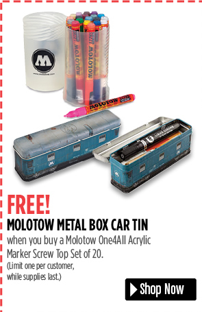 FREE! Molotow Metal Box Car Tin when you buy a Molotow One4All Acrylic Marker Screw Top Set of 20. Limit one per customer, while supplies last.