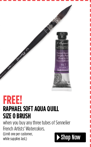 FREE! Raphael Soft Aqua Quill Size 0 Brush when you buy any three 37 ml tubes of Sennelier French Artist's Watercolors. Limit one per customer, while supplies last.