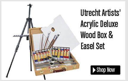 Utrecht Artists' Acrylic Deluxe Wood Box and Easel Set
