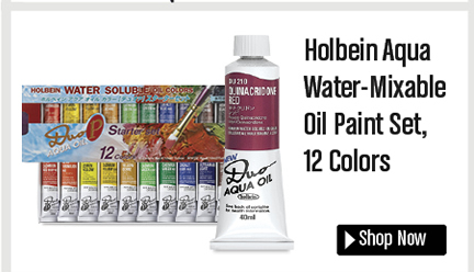 Holbein Aqua Water-Mixable Oil Paint Set, 12 Colors