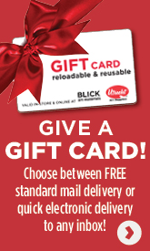 Give a Gift card, choose between free standard mail delivery or quick electronic delivery to any inbox