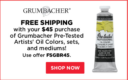 Free Shipping with your $45 purchase of Grumbacher Pre-Tested Artists' Oil Colors, sets, and mediums!
