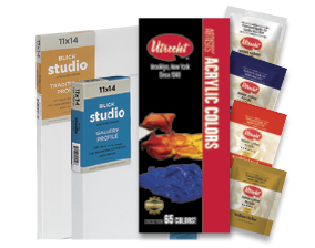 FREE! Utrecht Artists' Acrylic Paint Sampler when you buy $25 worth of Blick Studio Cotton Canvas. Items 07135, 07121, 07137.