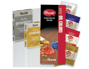 FREE! Utrecht Artists' Oil Paint Sampler when you buy $25 worth of Blick Premier Cotton Canvas (Splined or Back-Stapled). Items 07140, 07139, 07027.