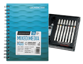 FREE! 10 inch x 7 inch Grumbacher Mixed Media Pad when you buy a Koh-I-Noor Rapidograph 7-Pen Slim Pack Set.