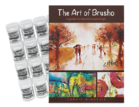 FREE! The Art of Brusho watercolor book when you buy the Brusho Crystal Colours Assorted Set of 24.